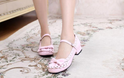 Front Bow Ruffle Shoes (6 Colors)