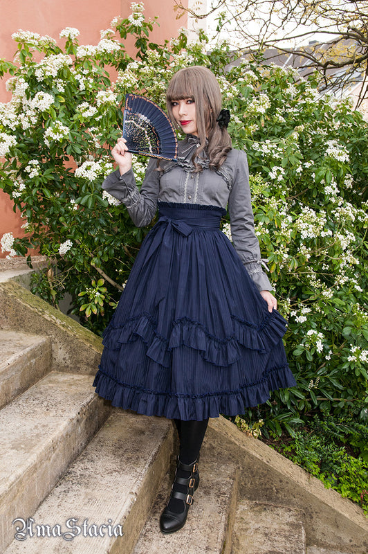Amastacia Morning Prayer High Waist Skirt in Blue Stripe aristocrat gothic lolita steampunk