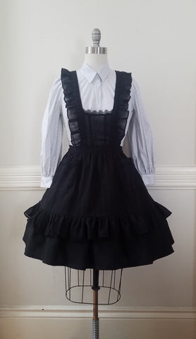 Classic Pinafore - Black Cotton Gauze,  Jumperskirt, The Black Ribbon gothic kawaii sweet Lolita Collective