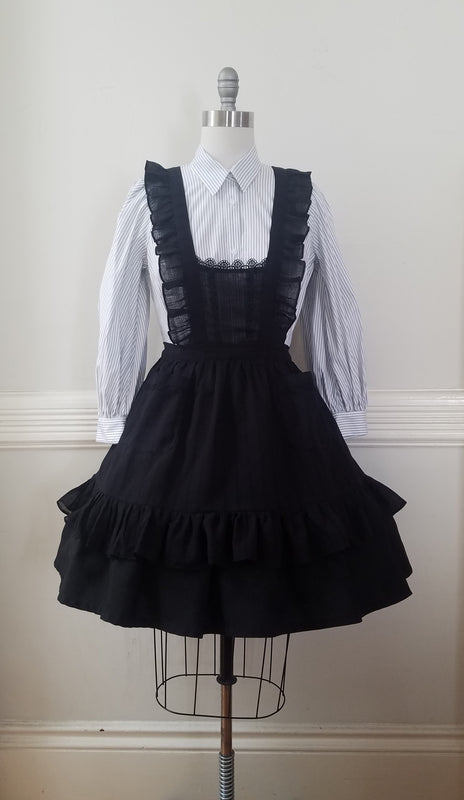 Classic Pinafore - Black Cotton Gauze,  Jumperskirt, The Black Ribbon gothic kawaii sweet japanese street fashion japan decora Lolita Collective