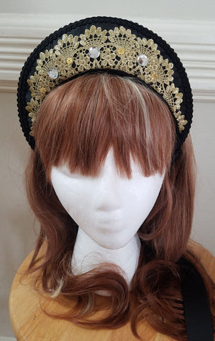 Black and Gold Lace Kokoshnik,  Hat, The Black Ribbon gothic kawaii sweet Lolita Collective