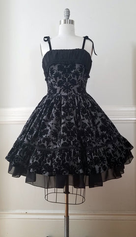Damask Flocked Twill Jumperskirt,  Jumperskirt, The Black Ribbon gothic kawaii sweet Lolita Collective