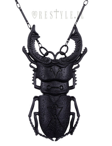 Restyle Black Beetle Necklace Insect jewelry