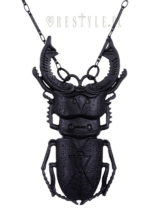 Beetle Necklace in Black,  Necklace, Restyle gothic kawaii sweet japanese street fashion japan decora Lolita Collective