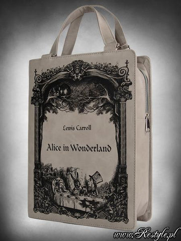 Alice in Wonderland Print Book Bag in Grey,  Bag, Restyle gothic kawaii sweet japanese street fashion japan decora Lolita Collective