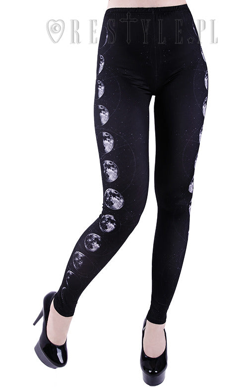 Moon Phases Leggings,  Leggings, Restyle gothic kawaii sweet japanese street fashion japan decora Lolita Collective