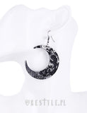 Textured Moon Earrings in Silver,  Earrings, Restyle gothic kawaii sweet Lolita Collective
