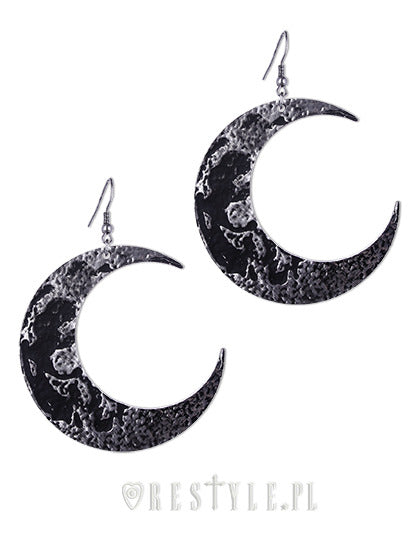 Textured Moon Earrings in Silver,  Earrings, Restyle gothic kawaii sweet japanese street fashion japan decora Lolita Collective
