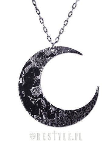Textured Moon Necklace in Silver