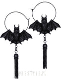 Hanging Bat Earrings in Black