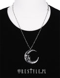 Silver Skull Moon Necklace
