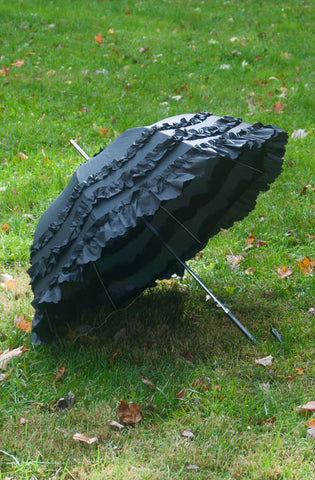Deluxe Ruffled Black Parasol Umbrella,  Parasol, Lolita Collective gothic kawaii sweet Lolita Collective