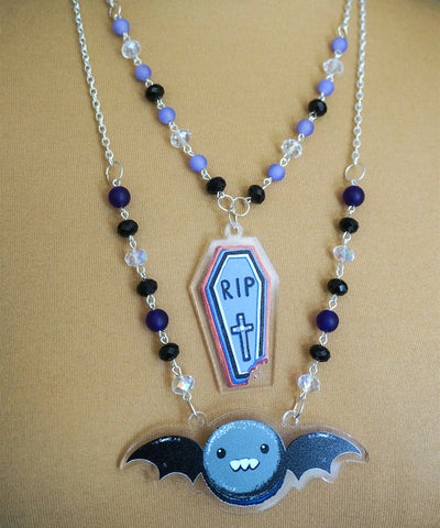 Spooky Macaron or Coffin Necklace (4 Colors)