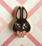 Tully Black Bunny Pin,  Enamel Pin, Character Zoo gothic kawaii sweet japanese street fashion japan decora Lolita Collective