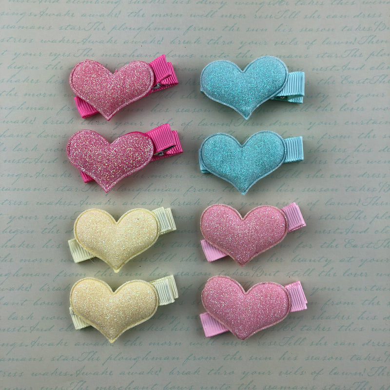 Glitter Heart Clip Set (4 Colors),  Hair Clip, Lolita Collective gothic kawaii sweet japanese street fashion japan decora Lolita Collective