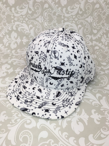 Fresh and Tasty Snap Back Hat in Black x White