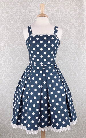 Polka Dot Jumperskirt in Navy Blue