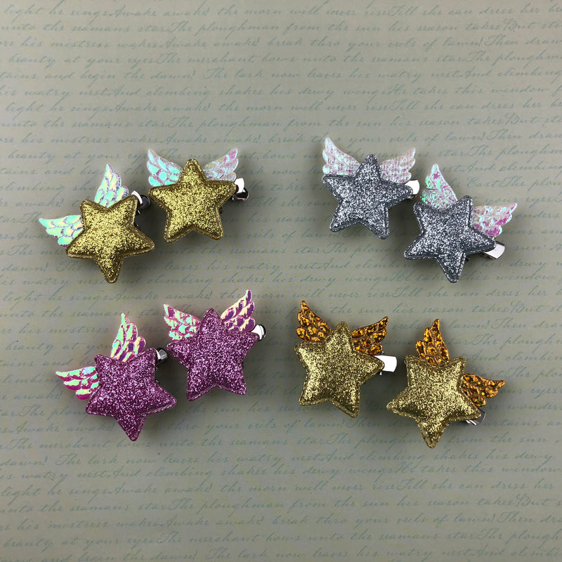 Wing Star Clip Set - Extra Small Size - (4 Colors),  Hair Clip, A Gato Designs gothic kawaii sweet Lolita Collective