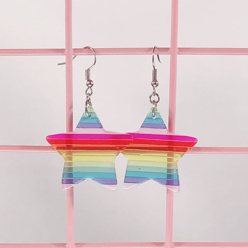 Rainbow Star Earrings,  Earrings, Interspecies Friendship gothic kawaii sweet japanese street fashion japan decora Lolita Collective