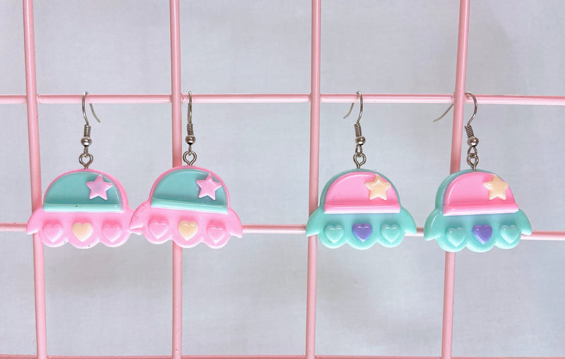 Pastel Spaceship Earrings (2 Colors)