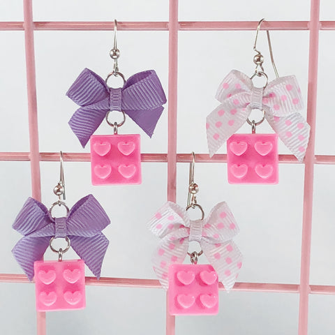 Toy Brick Earrings (2 Colors),  Earrings, Interspecies Friendship gothic kawaii sweet japanese street fashion japan decora Lolita Collective