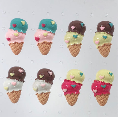 Double Scoop Ice Cream Earrings (4 Colors),  Earrings, Interspecies Friendship gothic kawaii sweet japanese street fashion japan decora Lolita Collective