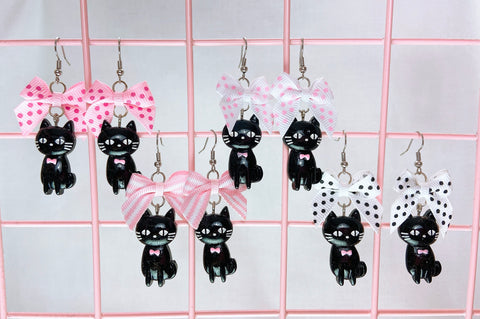 Black Cat Earrings (4 Colors)