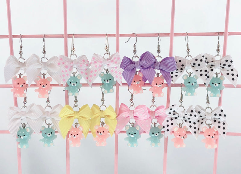 Pastel Teddy Bear Earrings (8 Colors),  Earrings, Interspecies Friendship gothic kawaii sweet japanese street fashion japan decora Lolita Collective