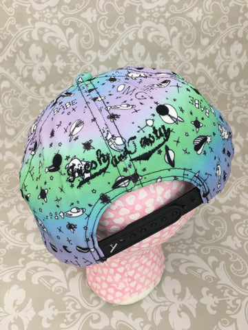 Fresh and Tasty Snap Back Hat in Purple to Green,  Hat, Moon Kitty Productions gothic kawaii sweet japanese street fashion japan decora Lolita Collective