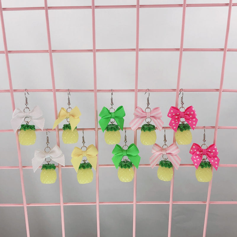 Pineapple Earrings (5 Colors),  Earrings, Interspecies Friendship gothic kawaii sweet japanese street fashion japan decora Lolita Collective