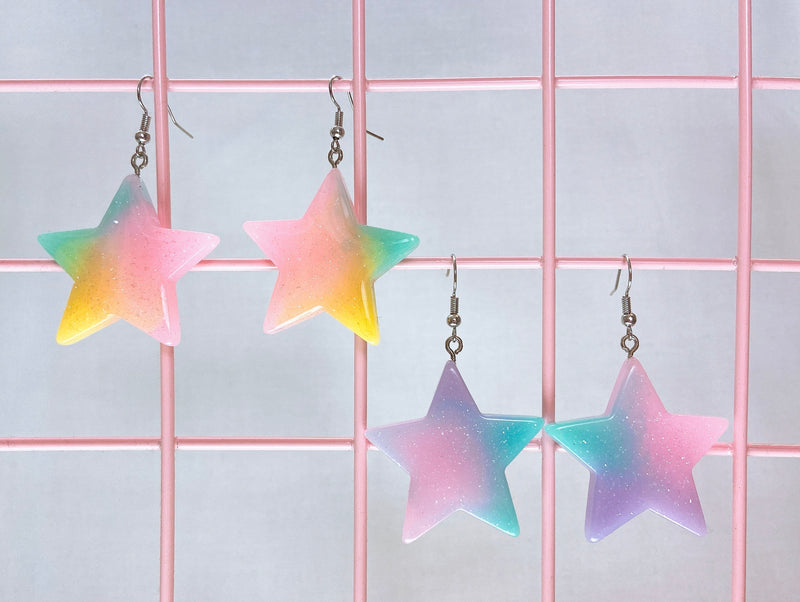 Pastel Glitter Star Earrings (2 Colors)