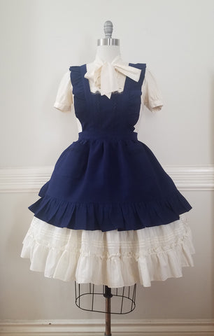 Classic Pinafore - Navy Seersucker,  Jumperskirt, The Black Ribbon gothic kawaii sweet Lolita Collective