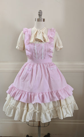 Classic Pinafore - Pink Seersucker,  Jumperskirt, The Black Ribbon gothic kawaii sweet Lolita Collective