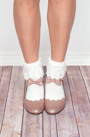 Ankle Socks with Lace in White