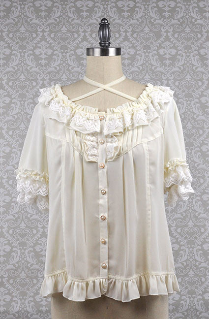 Cream Open Collar Short Sleeve Blouse,  Blouse, Xilia gothic kawaii sweet japanese street fashion japan decora Lolita Collective