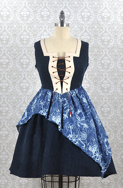 Long Ears Sharp Ears Map To Buried Treasure Pirate Jumperskirt in Navy Blue steampunk