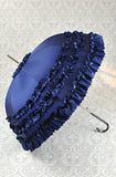 Deluxe Ruffled Navy Parasol Umbrella