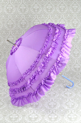 Deluxe Ruffled Purple Parasol Umbrella lolita fashion