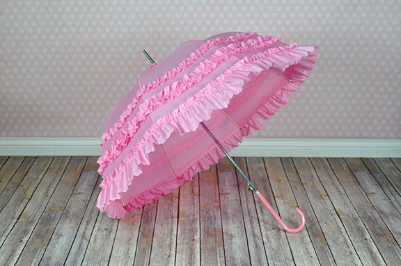 Deluxe Ruffled Pink Parasol Umbrella