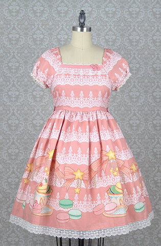 Macaron and Tea Onepiece Dress in Pink,  Onepiece, R Series gothic kawaii sweet japanese street fashion japan decora Lolita Collective