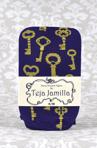 Key Tights x Gold on Eggplant Purple,  Tights, Teja Jamilla gothic kawaii sweet Lolita Collective