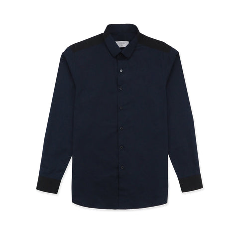 FLIP COTTON SHIRT - NAVY/BLACK