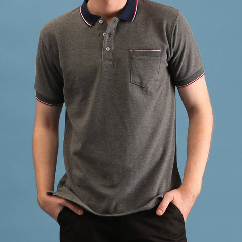 TAP POLO TEES - HEATHER GREY