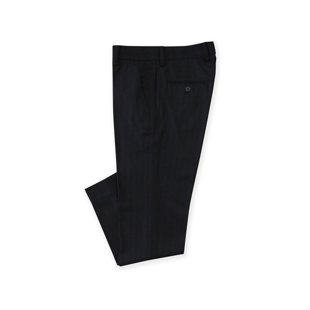 BRIT STRIPE WOOL PANTS - BLACK