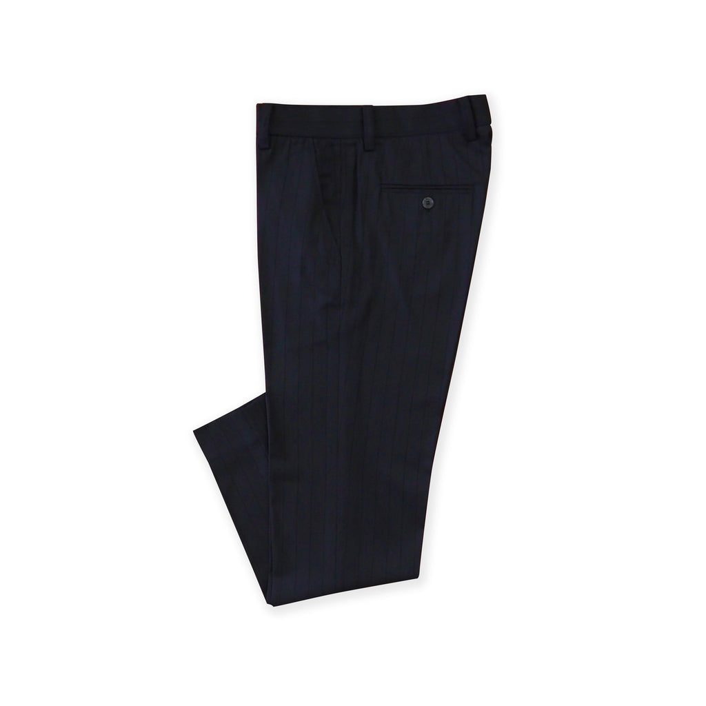 BRIT STRIPE WOOL PANTS - DARK BLUE