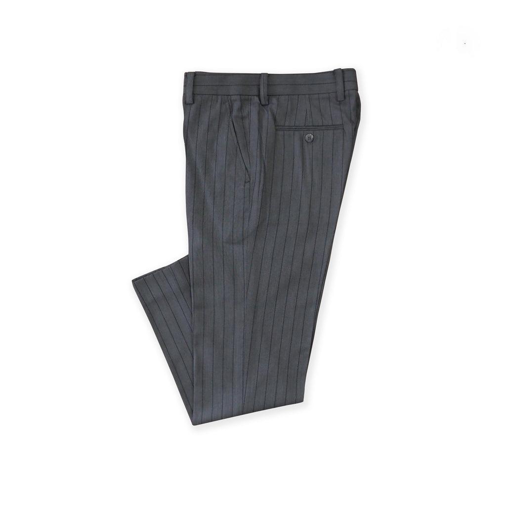 BRIT STRIPE WOOL PANTS - GREY