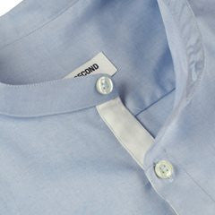 BLUE MINIMAL BAND COLLAR SHIRT