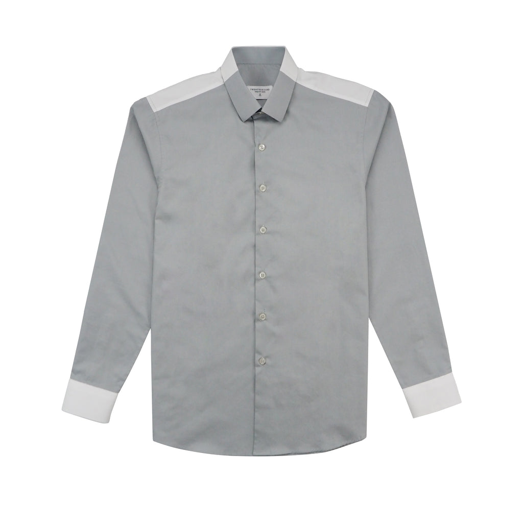 FLIP COTTON SHIRT - GREY/WHITE