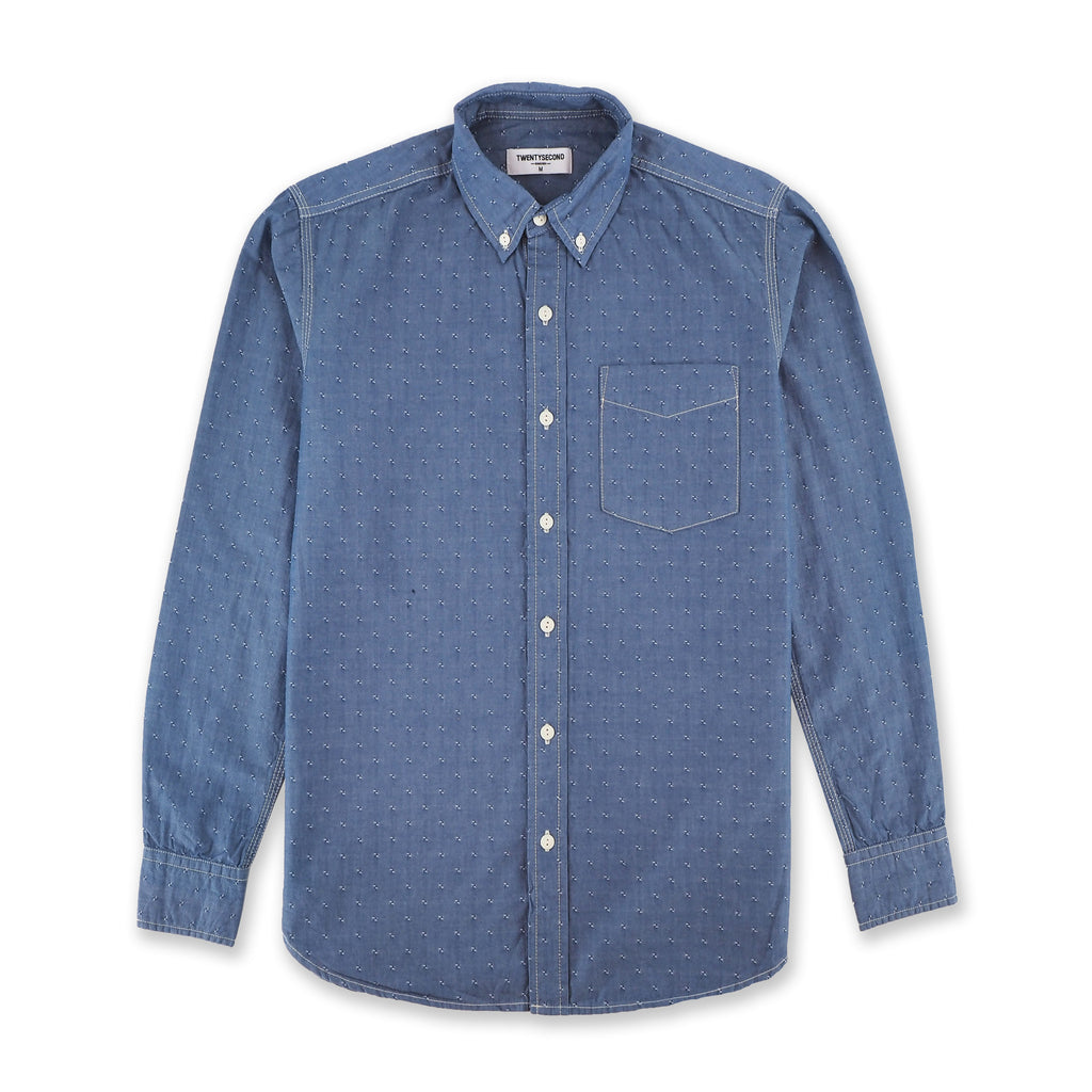 BLUE CHAMBRAY DOBBY SHIRT
