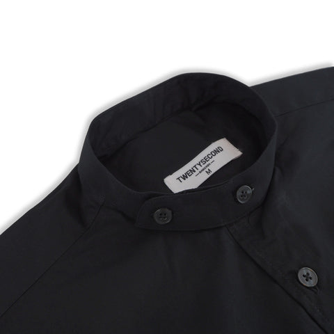 BLACK BAND COLLAR SHIRT